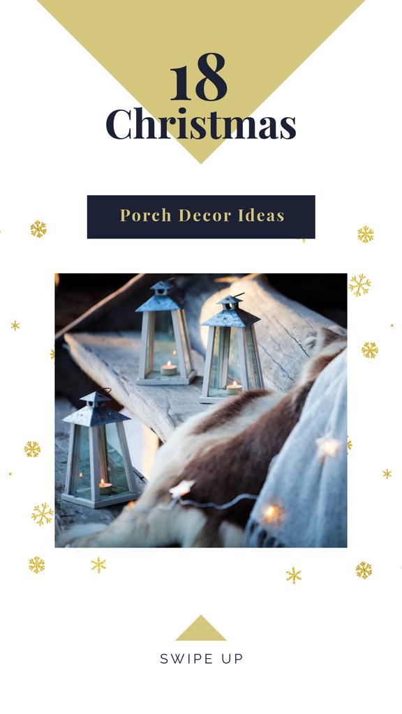 Decorative lanterns with candles on Christmas — Modelo de projeto