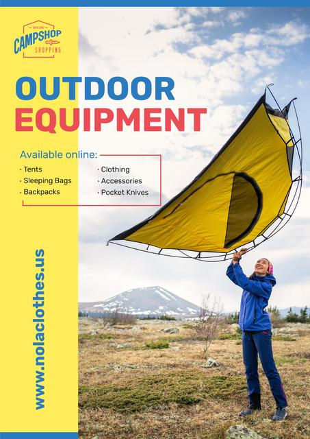 Template di design Outdoor Equipment Ad with Woman Adjusting Tent Poster