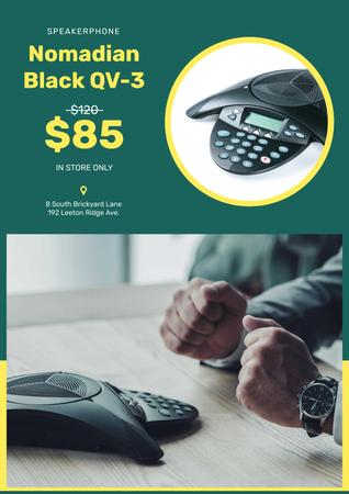 Template di design Gadget Store Offer with Man and Speakerphone Poster