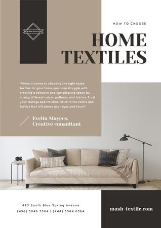 Ontwerpsjabloon van Newsletter van Home Textiles Review with Cozy Sofa