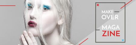 Fashion Magazine Ad with Girl in White Makeup Email header Modelo de Design
