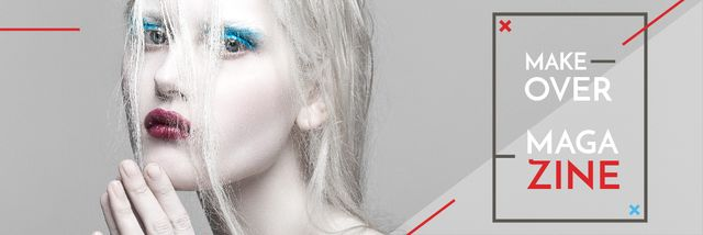Fashion Magazine Ad with Girl in White Makeup Email header Tasarım Şablonu
