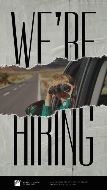 Plantilla de diseño de Boy with Binoculars Riding in Car Instagram Video Story