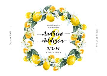 Wedding Invitation Wreath with Lemons