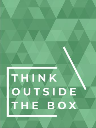 Think outside the box quote on green pattern Poster US – шаблон для дизайну