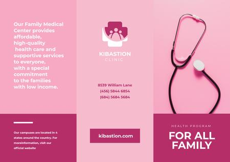 Family Medical Center Services Ad in Pink Brochure Modelo de Design