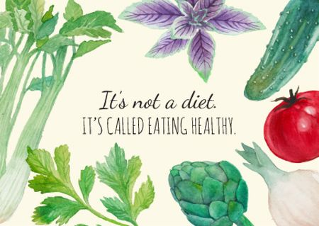 Plantilla de diseño de Healthy eating illustration Card