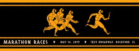 Ontwerpsjabloon van Facebook Video cover van Marathon Race Announcement Runners in Ancient Style