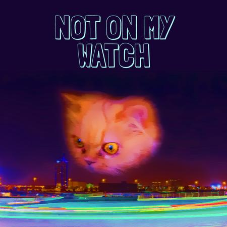 Ontwerpsjabloon van Animated Post van Cat gazing at night city