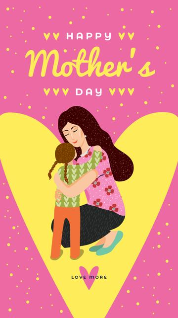 Mother with Daughter on Yellow Heart on Mother's Day Instagram Storyデザインテンプレート