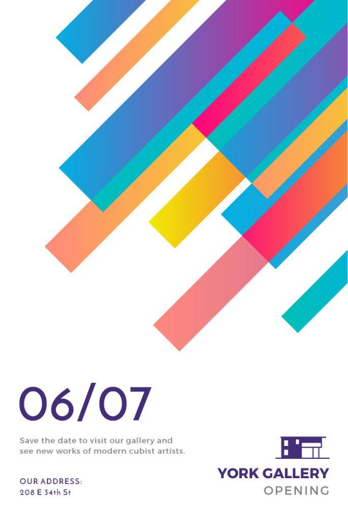 Art Gallery Opening Announcement Colorful Lines — Maak een ontwerp