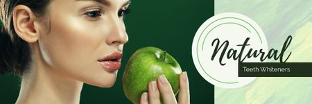 Teeth Whitening with Woman holding Green Apple Email header Modelo de Design