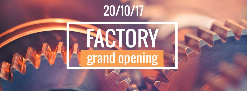 Factory Opening Announcement with Mechanism Cogwheels — Створити дизайн