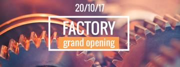 Factory Opening Announcement Mechanism Cogwheels | Facebook Cover Template