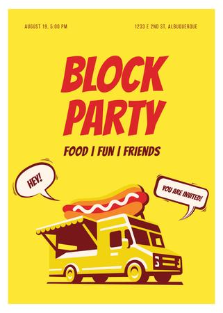 Plantilla de diseño de Party Van delivering Food in Yellow Invitation