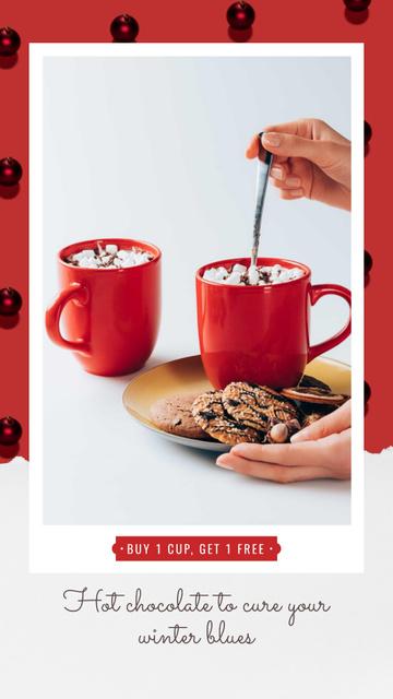 Plantilla de diseño de Christmas Offer Hands with Cup and Gingerbread Instagram Video Story