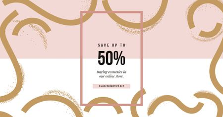 Sale Offer Pink and Golden Pattern Facebook AD Modelo de Design