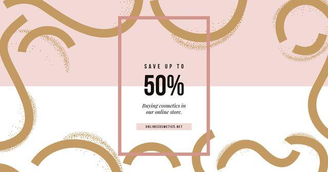 Sale Offer Pink and Golden Pattern Facebook AD Modelo de Design
