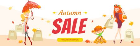Plantilla de diseño de Autumn Sale Ad Women with Shopping Bags Email header