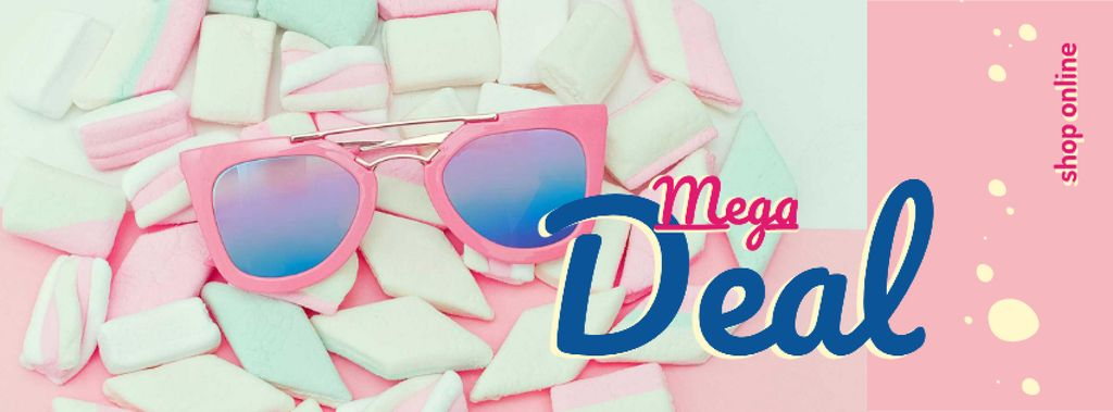 Modèle de visuel Shop Offer with pink Sunglasses and Marshmallows - Facebook cover