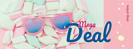 Shop Offer with pink Sunglasses and Marshmallows Facebook cover Modelo de Design
