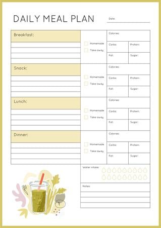 Plantilla de diseño de Daily Meal Plan with Smoothie illustration Schedule Planner