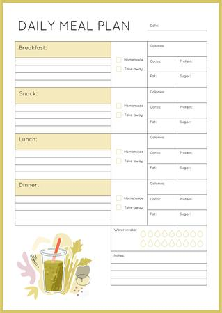 Daily Meal Plan with Smoothie illustration Schedule Planner Modelo de Design