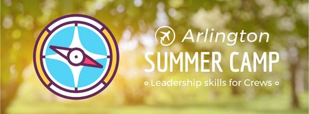 Summer camp promotion Rotating compass arrows Facebook Video cover – шаблон для дизайна