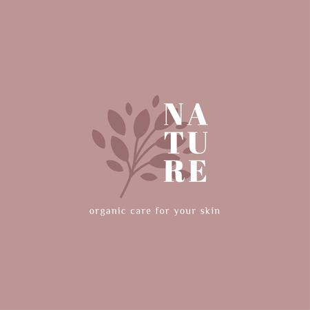 Plantilla de diseño de Skincare Ad with Plant Leaves in Pink Logo