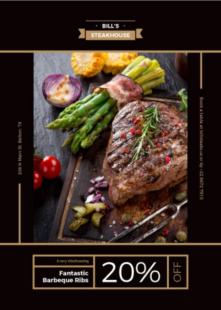 Steak House Happy Hours Offer Grilled Meat and Vegetables | Flyer Template — Create a Design