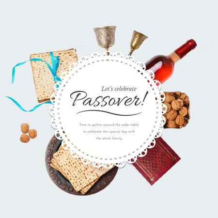 Happy Passover with Dinner Table Frame Animated Post Modelo de Design