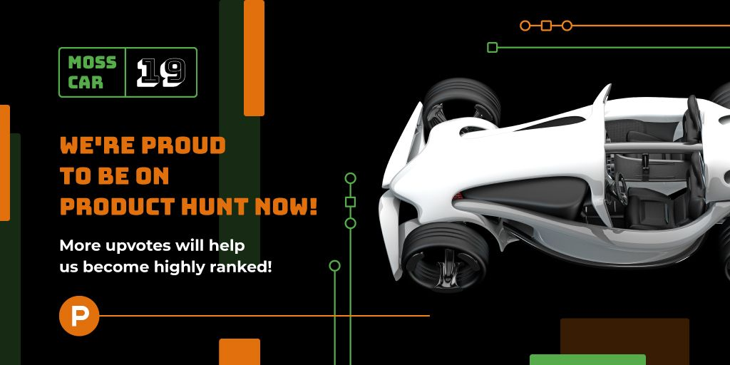 Product Hunt Launch Ad Sports Car | Twitter Post Template — Створити дизайн