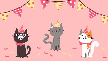 Cute Birthday Cats in caps Zoom Background – шаблон для дизайна