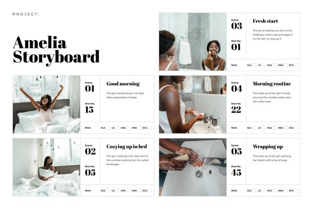 Woman caring about Skin in the Morning Storyboard Design Template