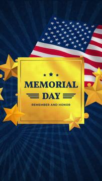 USA Memorial Day Golden Stars and Frame | Vertical Video Template