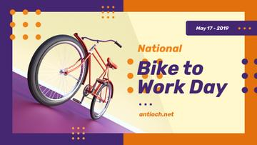 Bike to Work Day Greeting Modern City Bicycle | Facebook Event Cover Template