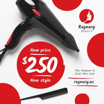 Beauty Salon Promotion Professional Hair Dryer | Instagram Post Template
