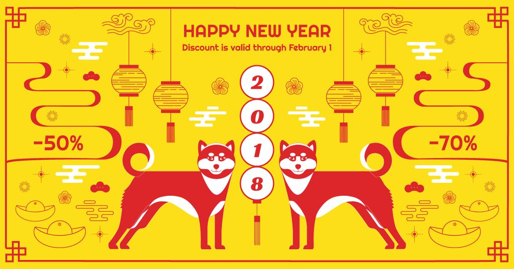 chinese new year discount card design template