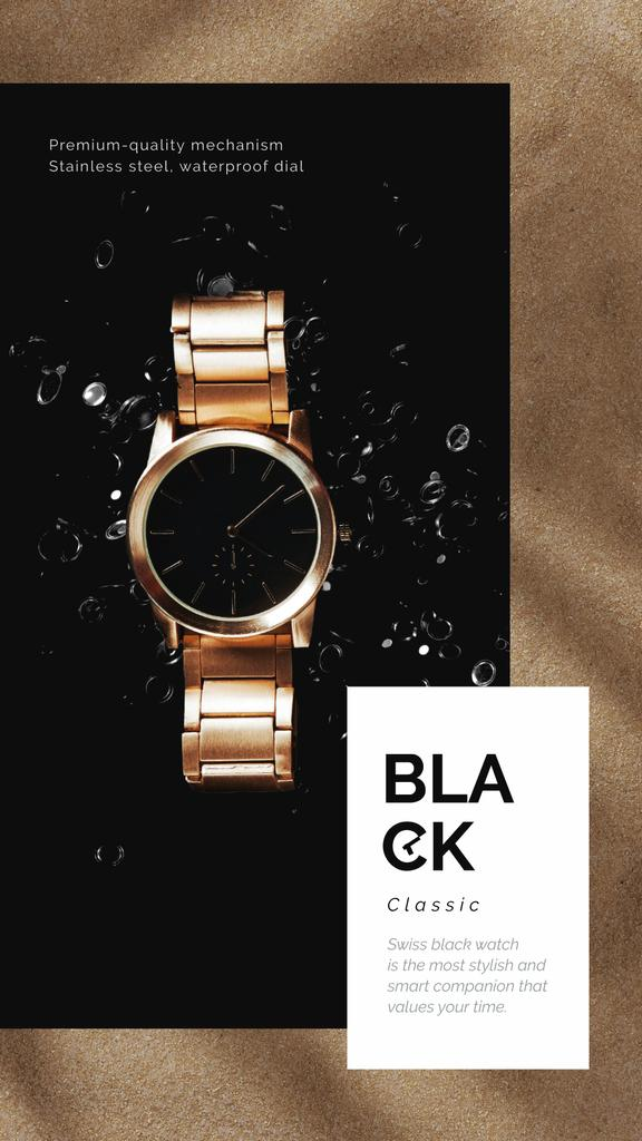 Luxury Accessories Ad with Golden Watch – Stwórz projekt