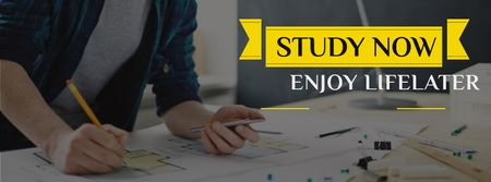 Student working with blueprints Facebook cover – шаблон для дизайну