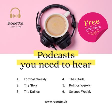Plantilla de diseño de Podcast Ad Headphones on Cup of Coffee in Pink Instagram