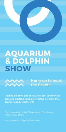 Aquarium Dolphin show invitation in blue Graphic Design Template