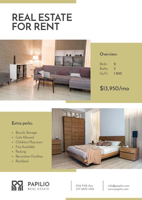 Designvorlage Real Estate Rental Property Cozy Interior für Flayer
