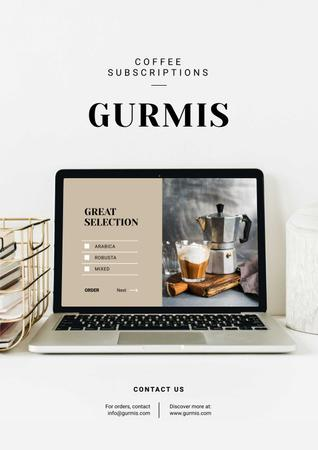 Coffee Subscription service on laptop Poster – шаблон для дизайну