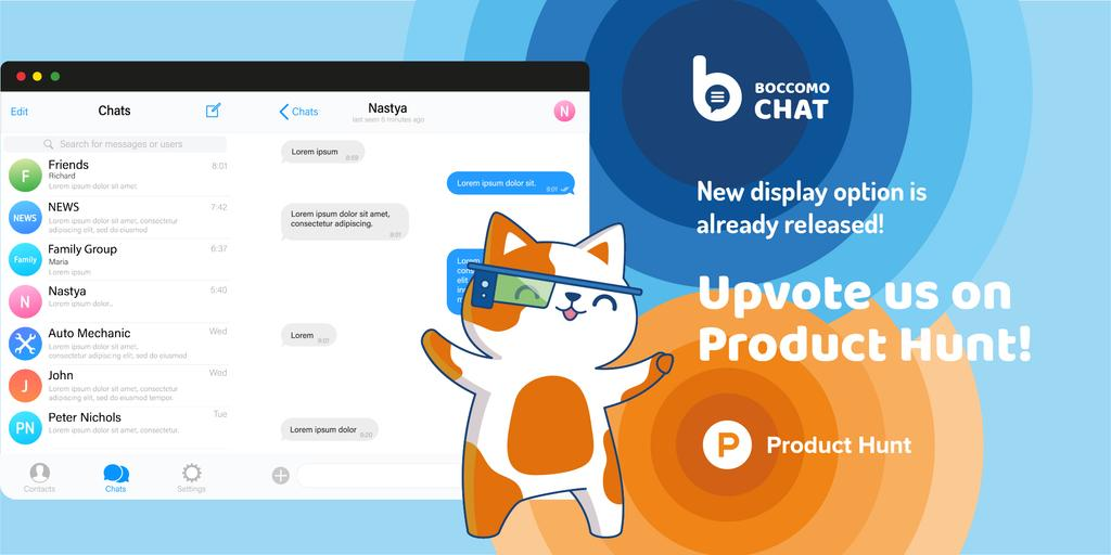 Product Hunt Campaign with Chats Page on Screen — Crear un diseño