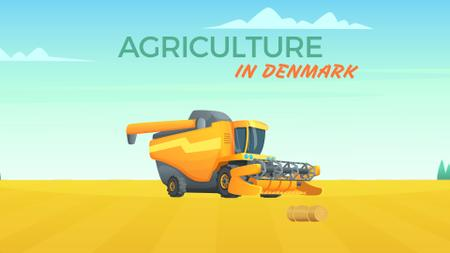 Plantilla de diseño de Harvester working in field Full HD video