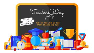 Teacher's Day Party Invitation Stationery in Classroom