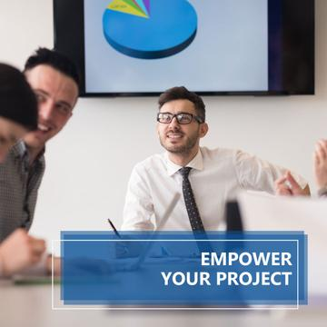 Empower your project banner with group of business people working together