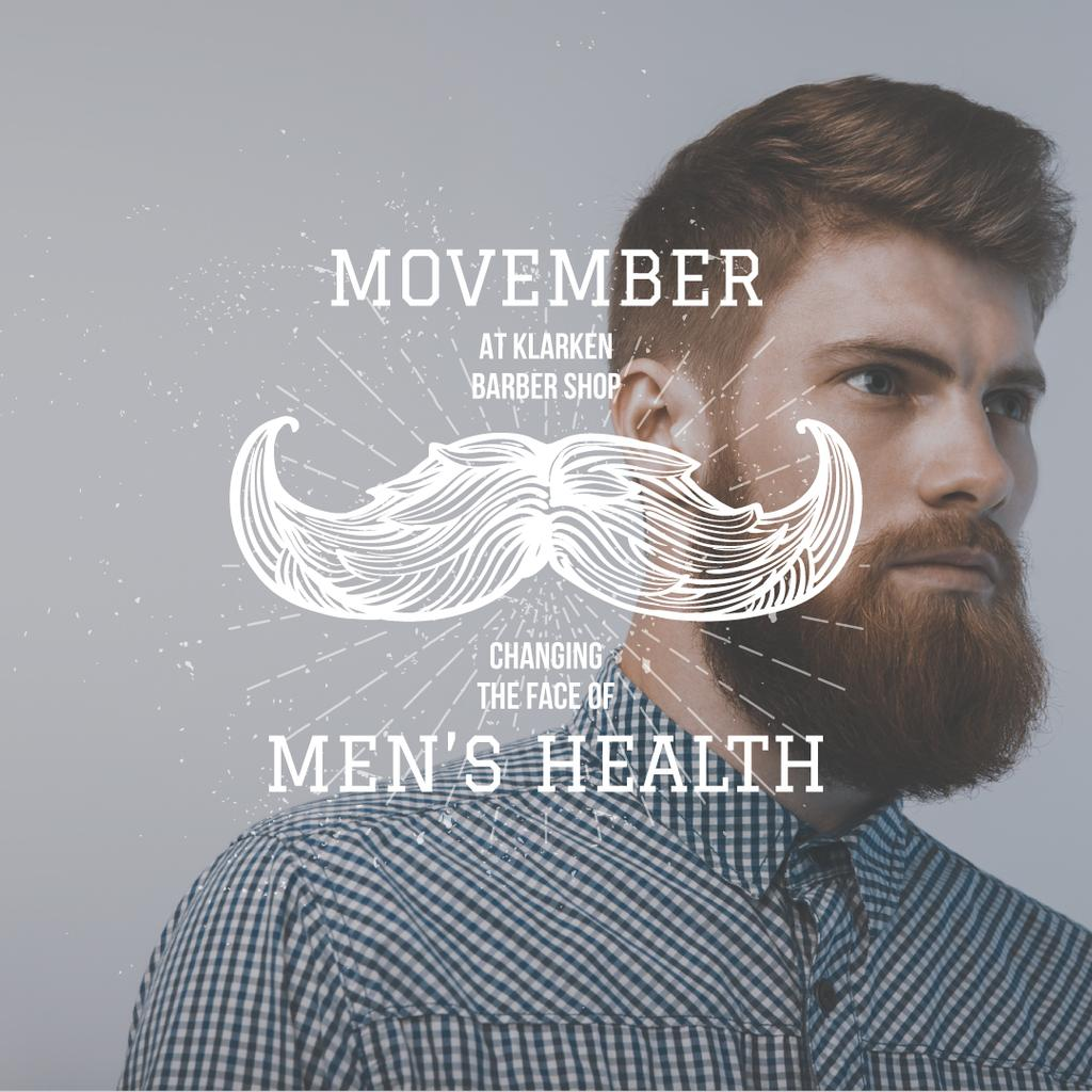 Man with mustache and beard for Movember — Создать дизайн
