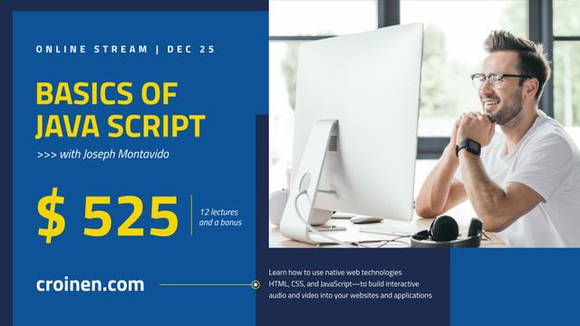 IT Courses announcement Man Working by Computer FB event cover Modelo de Design